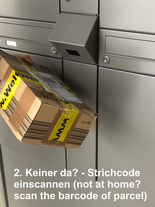 """Parcel-Box Paketbriefkasten Paketkasten - Briefkasten Kombination """"pafory"""" Schritt 2: Keiner da? Strichcode einscannen"""