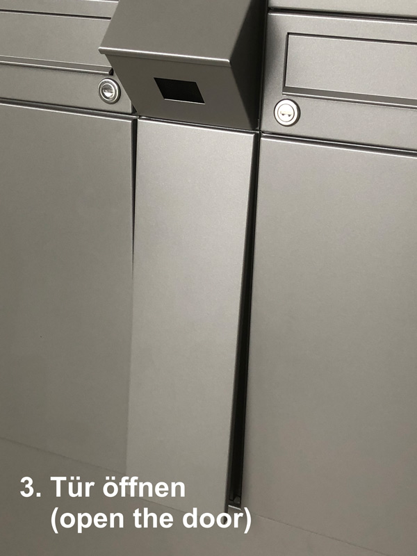 """Parcel-Box Paketbriefkasten Paketkasten - Briefkasten Kombination """"pafory"""" Schritt 2: Tür öffnen"""