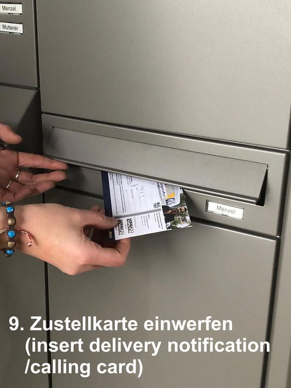 """Parcel-Box Paketbriefkasten Paketkasten - Briefkasten Kombination """"pafory"""" Schritt 9: Zustellkarte einwerfen"""